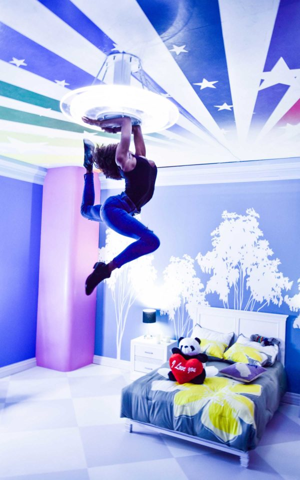 almay product launch event optical illusion woman ceiling photo op