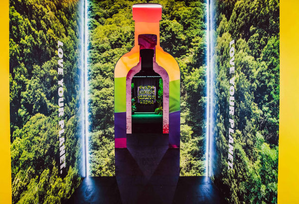entrance to absolut pop up at coachella shaped like a bottle