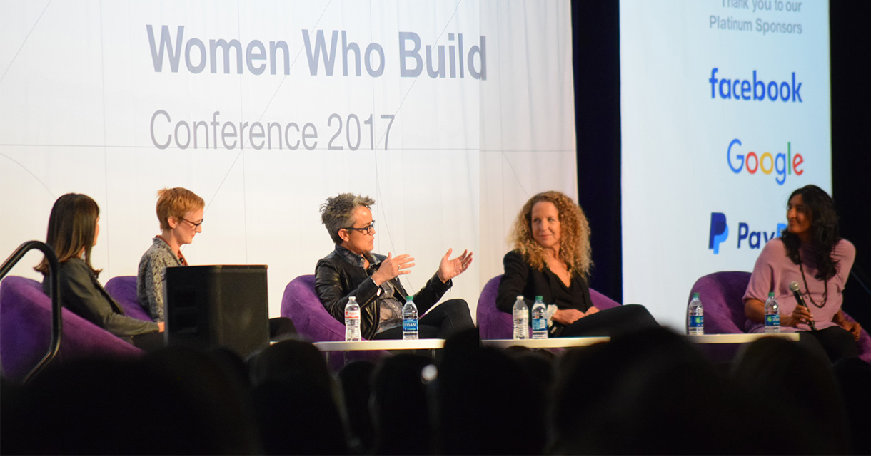panel of women at the women who build conference