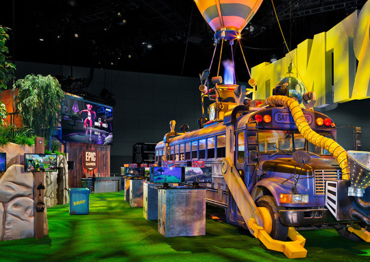 Epic Games Fortnite at E3 2018 Yellow School Bus Trade Show Booth