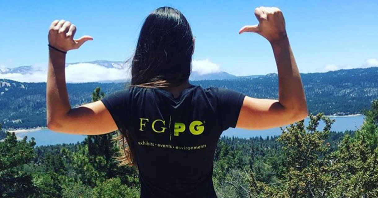 fgpg employee in an fgpg t-shirt on a hike