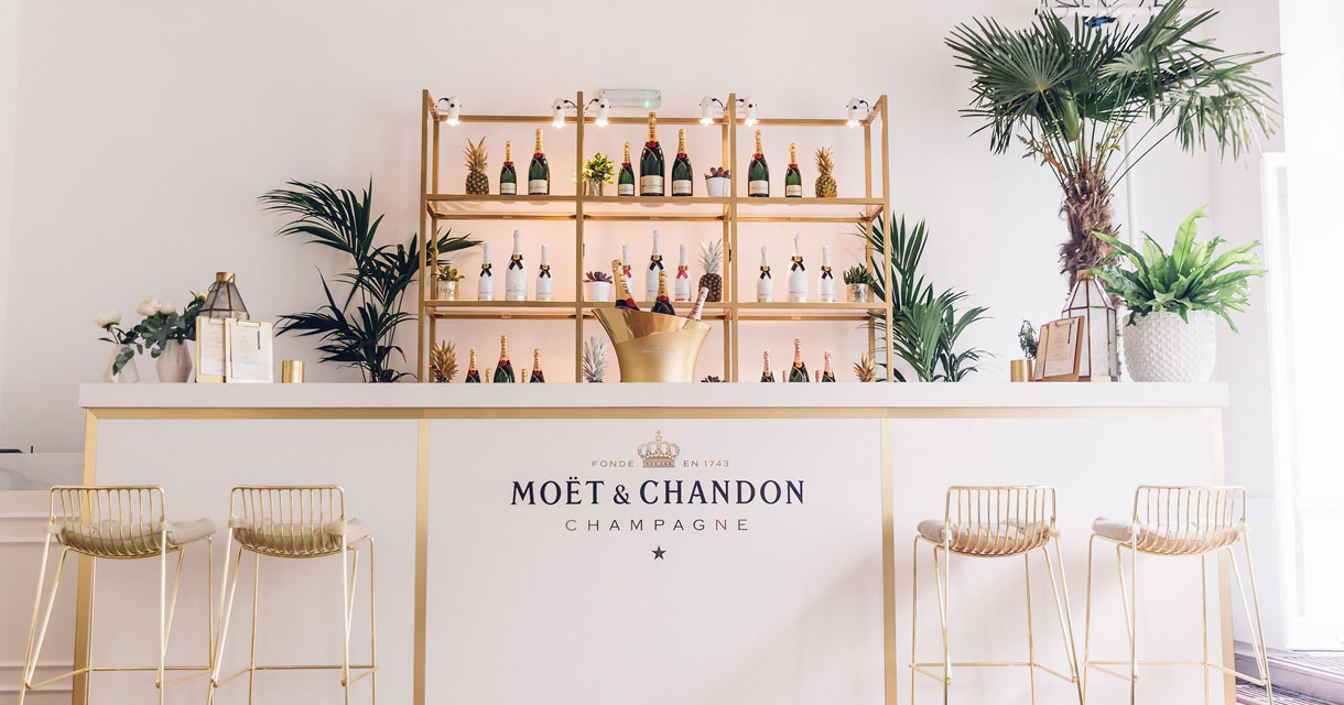 champagne bar at the moet and chandon summer house
