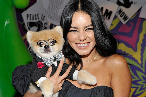 vanessa hudgens holding a dog in a suit and glasses at the museum of weed