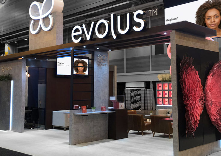 evolus brand activation trade show booth butterfly wings logo fgpg experiential