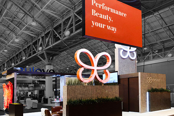 evolus brand activation trade show booth performance beauty your way fgpg experiential