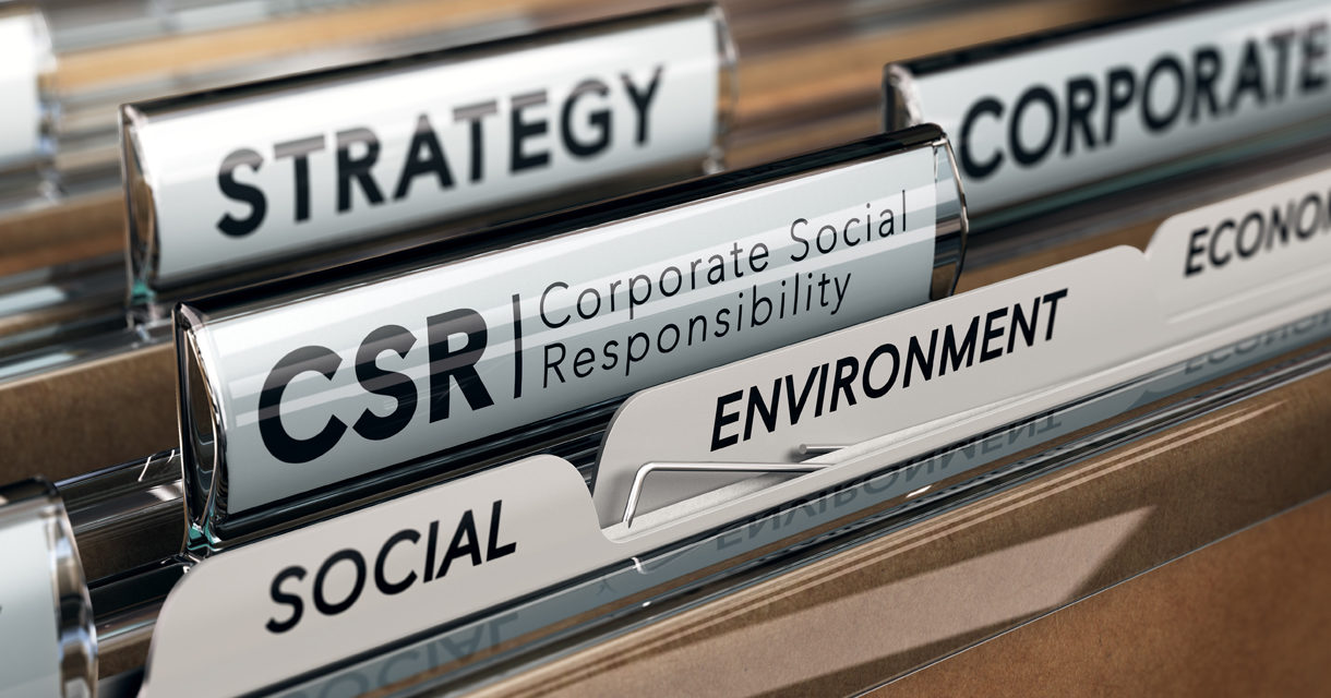 file folders with one highlighting CSR (corporate social responsibility)